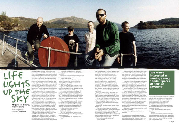 Plan B Magazine Issue 38 feature - Mogwai. Art direction and design by Andrew Clare, photography by Steve Gullick