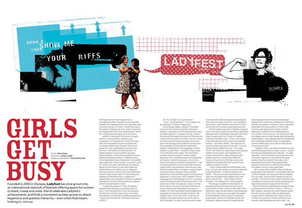 Plan B Magazine Issue 37 feature - Ladyfest. Art direction and design by Andrew Clare, illustration by Linda Coulter