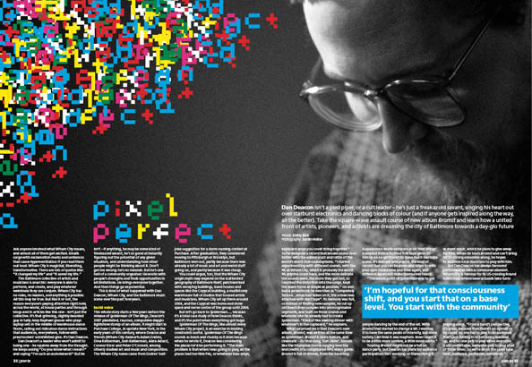Plan B Magazine Issue 43 feature - Dan Deacon. Art direction and design by Andrew Clare, photography by Justin Hollar