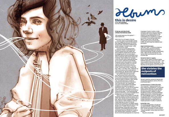 Plan B Magazine Issue 43 feature - PJ Harvey. Art direction and design by Andrew Clare, illustration by Kristin Oftedal