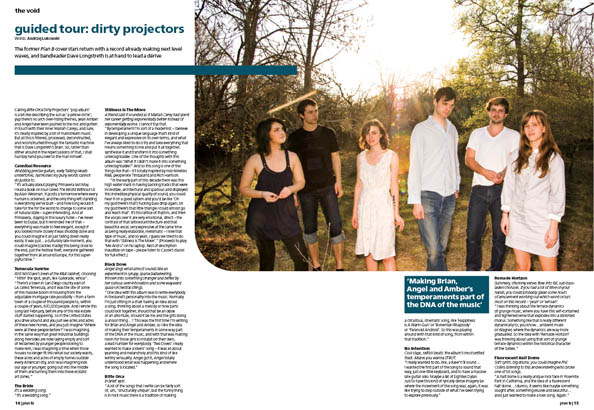 Plan B Magazine Issue 46 feature - Dirty Projectors. Art direction and design by Andrew Clare
