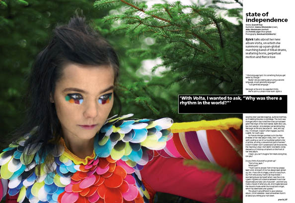 Plan B Magazine Issue XX feature - Bjork. Art direction and design by Andrew Clare, photography by XX