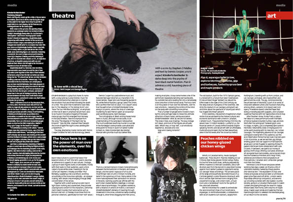 Plan B Magazine Issue XX feature - Theatre / Art. Art direction and design by Andrew Clare, photography by XX