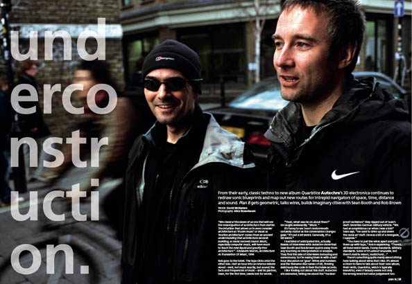 Plan B Magazine Issue 31 feature - Autechre. Art direction and design by Andrew Clare, photography by Alive Rosenbaum