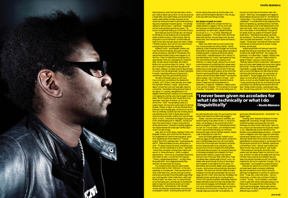 Plan B Magazine Issue 36 feature - Roots Manuva. Art direction and design by Andrew Clare, photography by Andrew Whitton