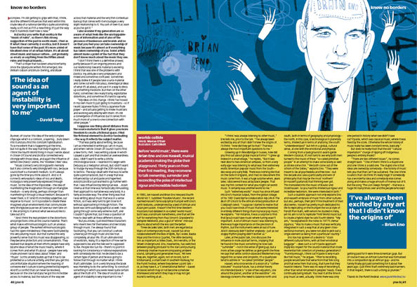 Plan B Magazine Issue 38 feature - Brian Eno. Art direction and design by Andrew Clare, illustration by Cath Elliott